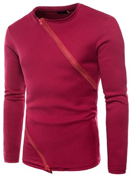 Ericdress Plain Zipper Slim Pullover Mens Casual Sweatshirts