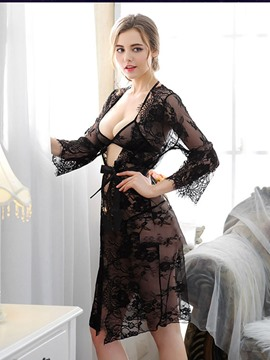 Ericdress Eyelash Cardigan Lace-Up See-Through Long Nightgown