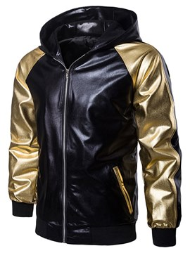 Ericdress Patcwork Hooded Zipper Slim Mens Casual Ball Metallic Jacket