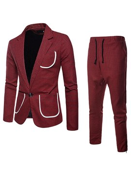 Ericdress Plaid Color Block Mens 2 Pieces Casual Suits