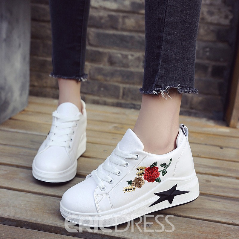 Ericdress Floral Embroidery Hidden Elevator Heel Women's Shoes
