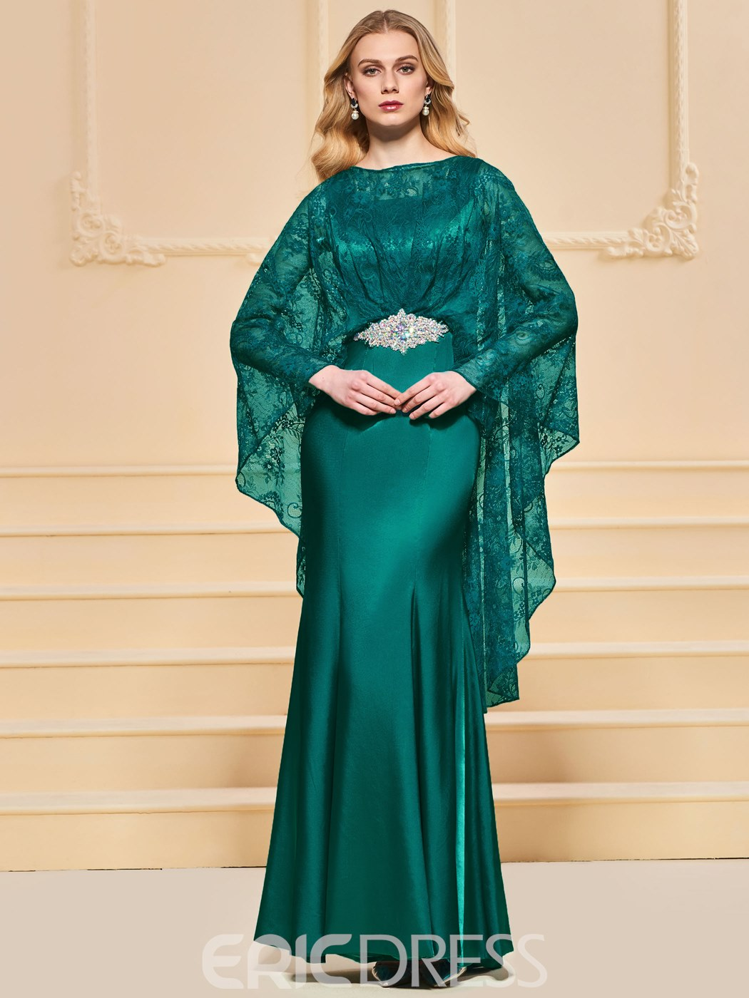 Ericdress Cape Lace Sleeve Mermaid Evening Dress With Beadings