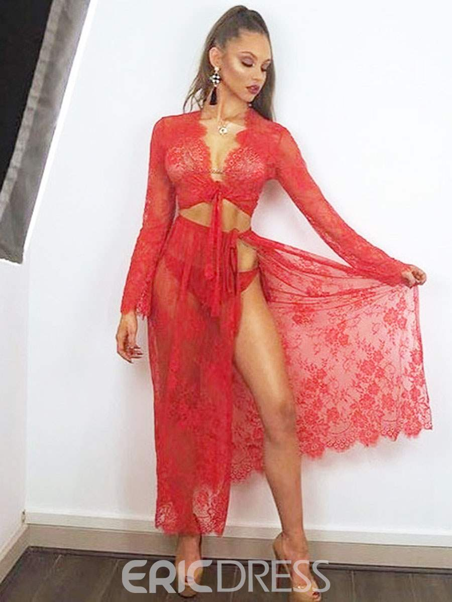 Ericdress Slit Up Lace-Up Long Sleeve Sexy Rope Suit