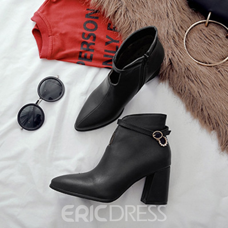 Ericdress Side Zipper Pointed Toe Chunky Heel Ankle Boots