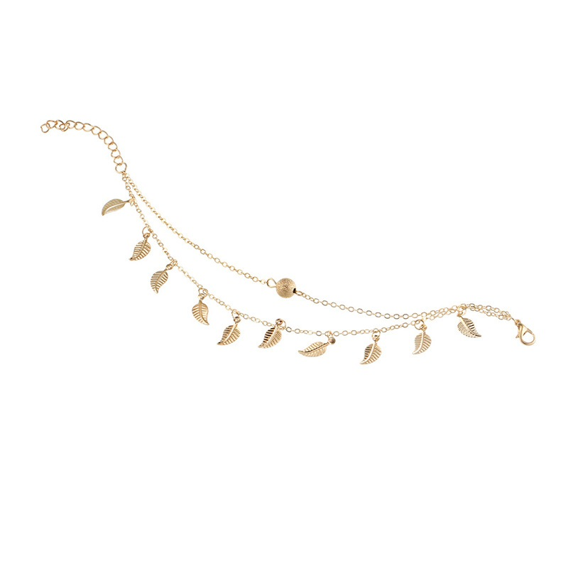 Ericdress Leaf Double-Chain Anklet