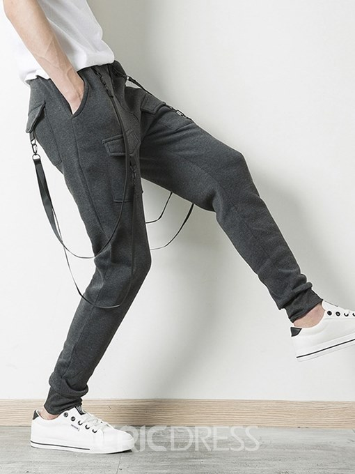 Ericdress Plain Lace Up Slim Pocket Mens Casual Pencil Pants