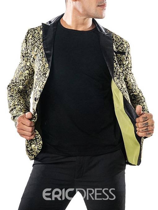 Ericdress Printed One Button Notched Lapel Mens Tuxedo Blazer Costume