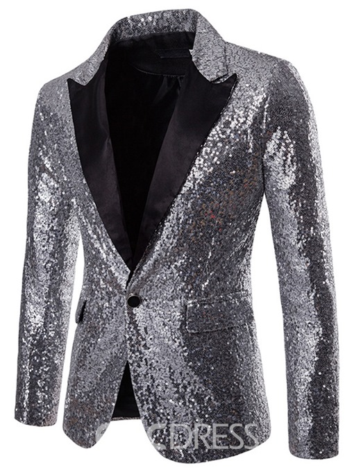 Ericdress Plain Sequins Notched Lapel Mens Tuxedo Party Blazer Costume