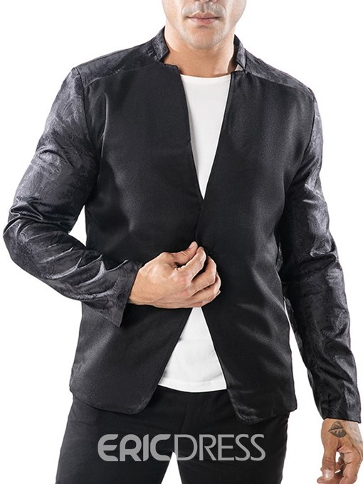 Ericdress One Button Patchwork Stand Collar Mens Casual Blazer Jacket