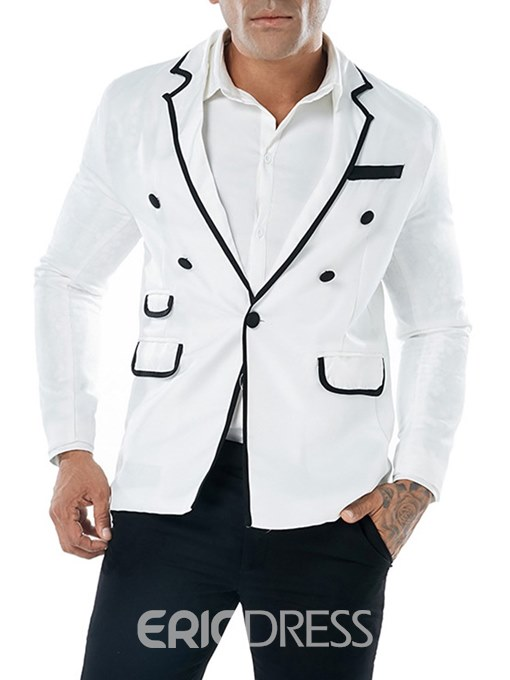 Ericdress Color Block One Button Plain Mens Casual Blazer