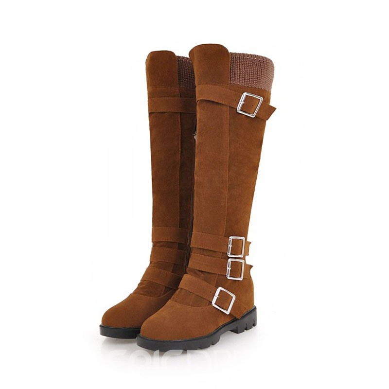 5ced9b72913 Ericdress Round Toe Block Heel Knee High Boots 13425521 - Ericdress.com
