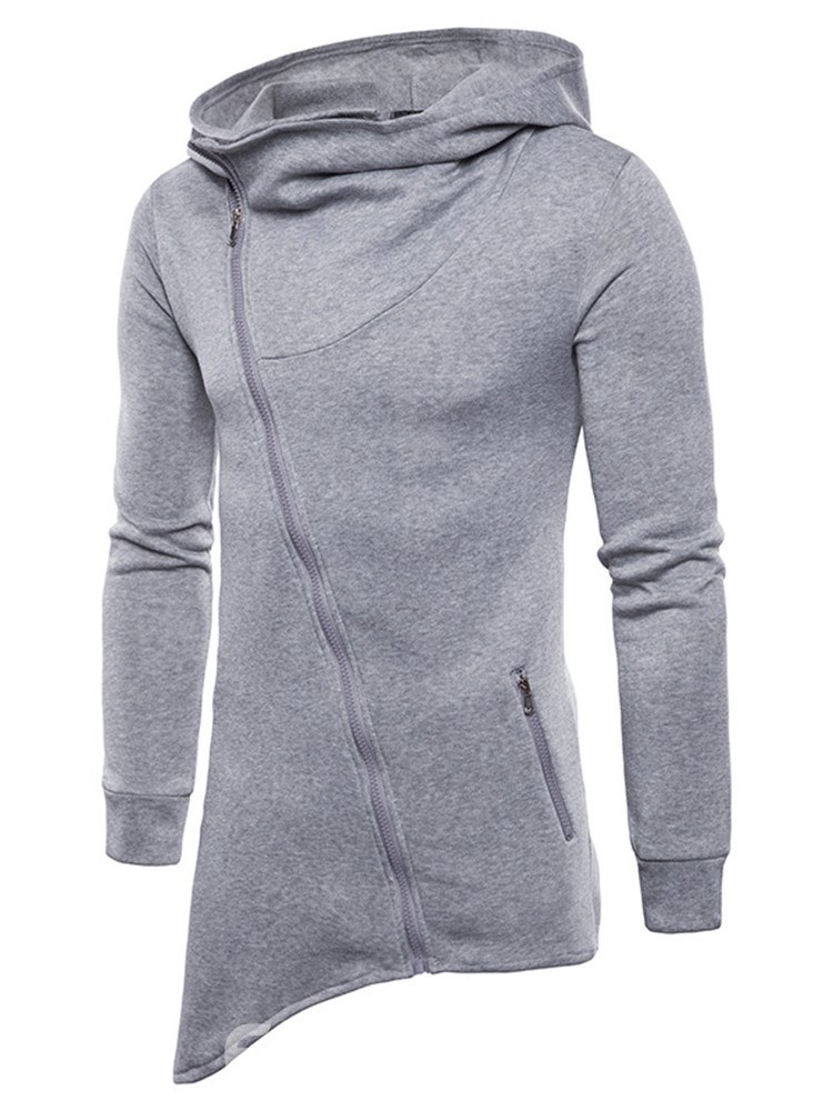 Ericdress Plain Zipper Asymmetric Sli Mens Cardigan Hoodies