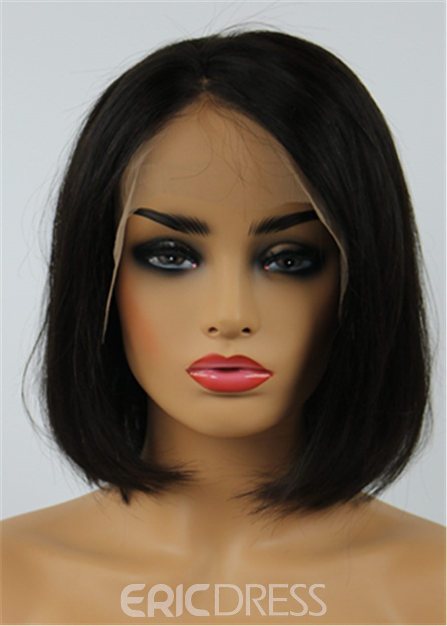 Ericdress Shoulder-length Natural Human Hair Lace Front African American Wigs 10 Inches