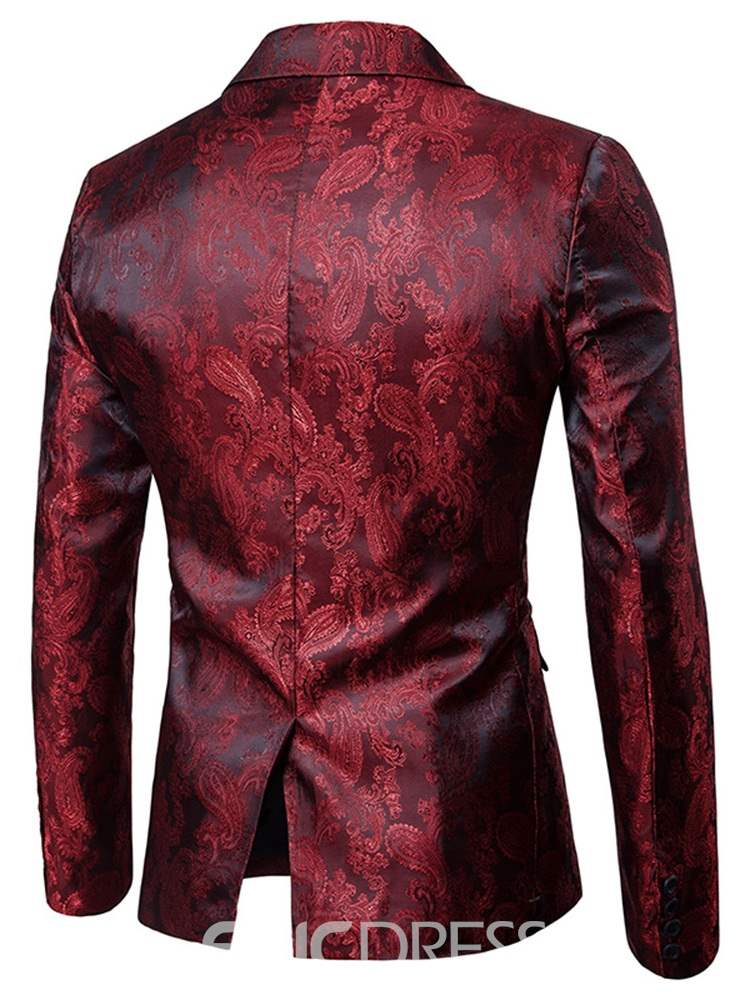 Ericdress Printed One Button Blazer & Pants Mens Casual Suits