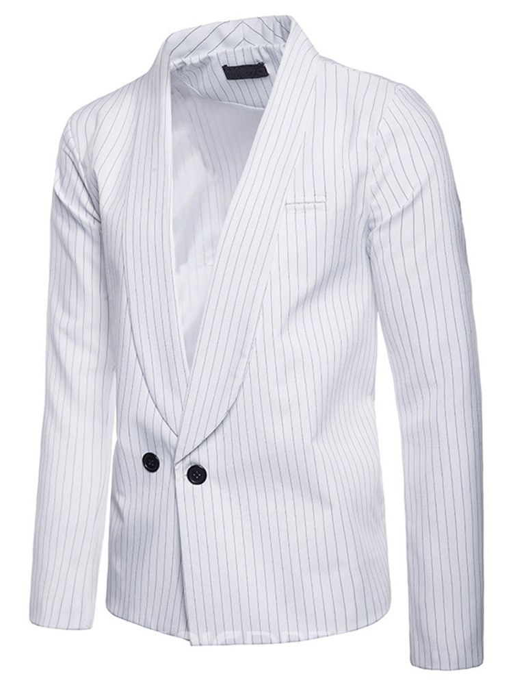 Ericdress Striped Double Breasted Notched Lapel Mens Casual Blazer
