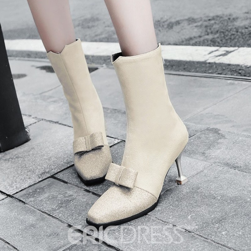 Ericdress Bowknot Patchwork Square Toe Women's Ankle Boots