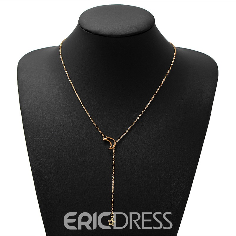 Ericdress Moon&Star Goddess Pendant Necklace
