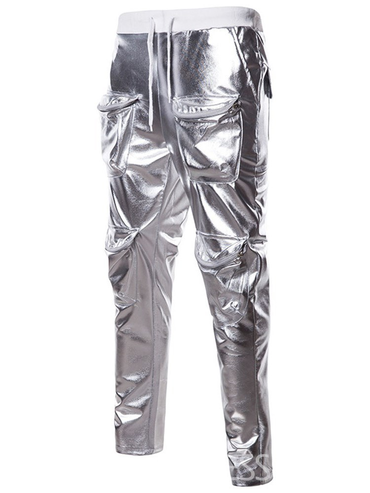 Ericdress Plain Pocket Micro-Elastic Mens Casual Metallic Ball Pants