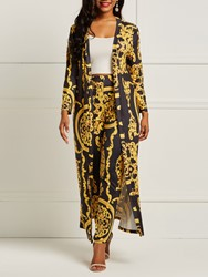 Ericdress Print Floral Trench Coat and Pencil Pants Womens Two Piece Set thumbnail
