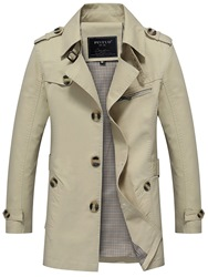 Ericdress Plain Button Slim Mid-Length Mens Casual Trench Coat фото