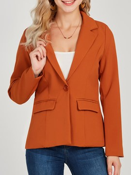 Ericdress Button Pocket Plain Notched Lapel Blazers