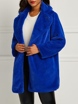 Ericdress Thick Loose Lapel Faux Fur Hidden Button Coat
