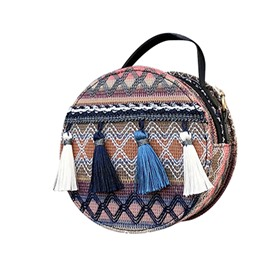 Casual Linen Color Block Circular Crossbody Bag