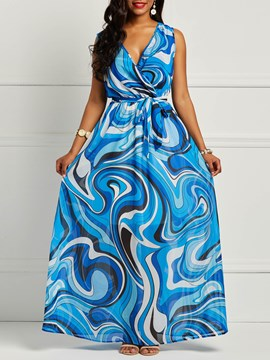 Ericdress African Fashion Chiffon Sleeveless Print Floor-Length Women's Dress