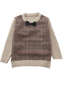 Ericdress Plaid Color Block Scoop Boy's Casual Sweaters