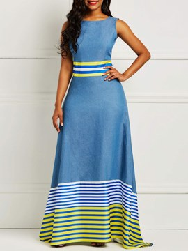 Ericdress A-Line Floor-Length Sleeveless Stripe Women's Dress