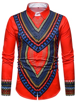 Ericdress Dashiki Geometric Printed Color Block Mens Slim Shirts