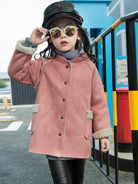 Ericdress Plain Single Breasted Raglan Sleeve Girl's Suede Winter Coat