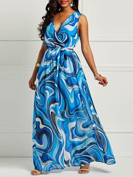 Ericdress Chiffon Sleeveless Print Floor-Length Women's Dress