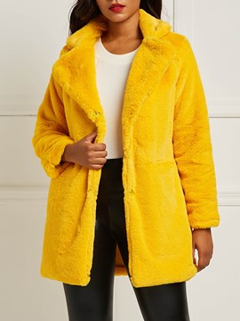 Ericdress Loose Faux Fur Pocket Mid-Length Teddy Coat
