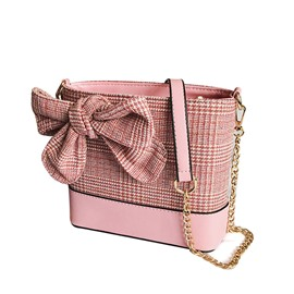 Ericdress Houndstooth Patchwork Bowtie Soft Crossbody Bag