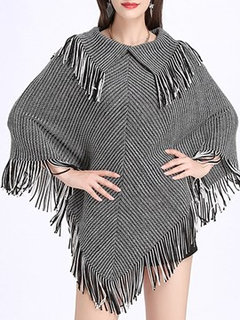 Ericdress Plaid Tassel Loose Cape