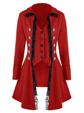 Ericdress Single-Breasted Slim Asymmetric Mid-Length Lapel Overcoat