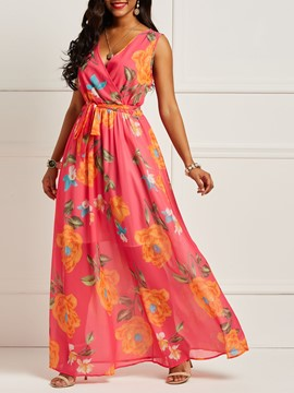 Ericdress Chiffon Sleeveless Floor-Length Women's Dress