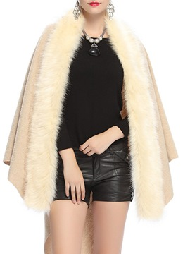 Ericdress Patchwork Fur Casual Asymmetric Cape