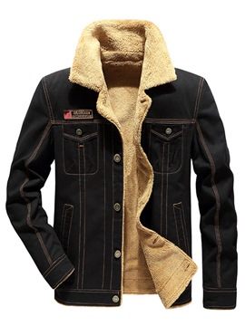 Ericdress Plain Thick Stand Collar Denim Mens Winter Jacket