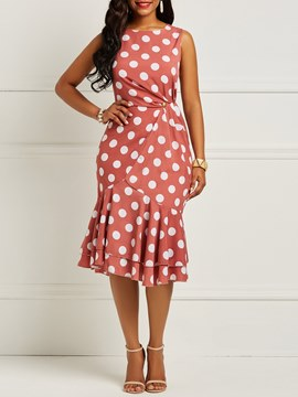 Ericdress Asymmetrical Polka Dots Sleeveless Women's Dress