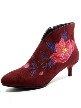 Ericdress Pointed Toe Kitten Heel Embroidered Boots