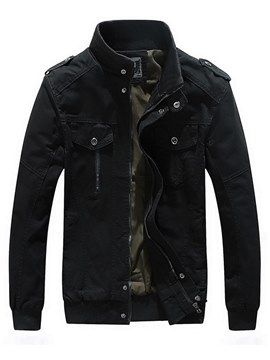 Ericdress Plain Stand Collar Thick Mens Casual Zipper Jacket