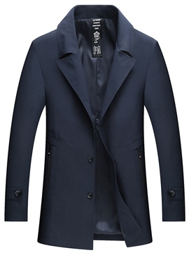 Ericdress Single Breasted Slim Plain Mid-Length Mens Casual Trench Coat