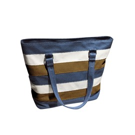 Ericdress Color Block Stripe Zipper Shoulder Bag