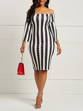 Ericdress Flare Sleeve Stripe Bodycon Women's Dress