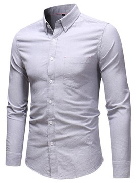 Ericdress Plain Lapel Slim Button Down Mens Casual Dress Shirts