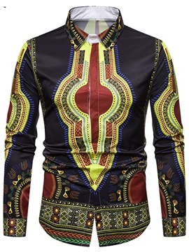 Ericdress African Fashion Dashiki Print Mens Casual Slim Shirts