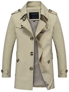 ericdress Plain Button Slim mittlerer Länge Herren Trenchcoat