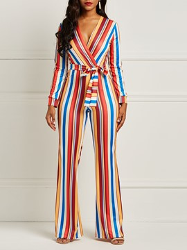Ericdress Striped Color Block Tunic Women's Jumpsuits